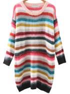 Romwe Multicolor Striped Drop Shoulder Sweater Dress