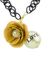 Romwe Yellow Flower Bead Chain Necklace