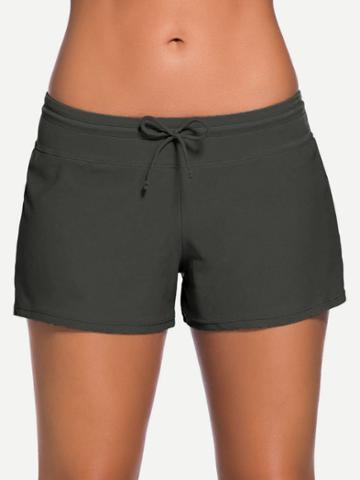 Romwe Side Slit Drawstring Swim Shorts