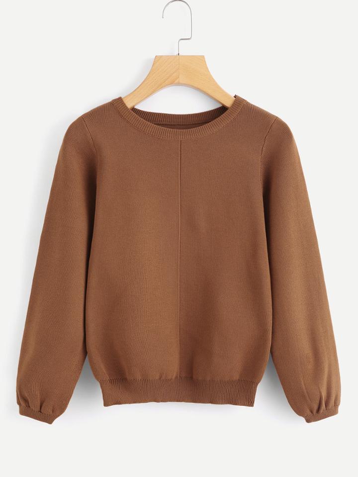 Romwe Lantern Sleeve Knit Sweater