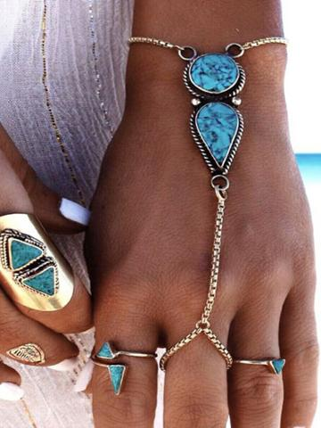 Romwe Vintage Ethnic Boho Jewelry Blue Stone Pattern Bracelets
