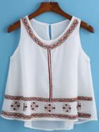 Romwe Embroidered Chiffon Tank Top