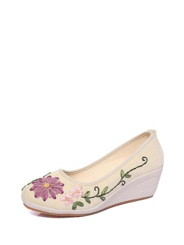 Romwe Embroidery Linen Wedges