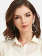 Romwe Faux Pearl Geometric Drop Earrings