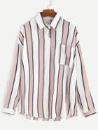 Romwe Pink Vertical Striped Pocket Front Blouse