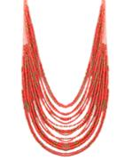 Romwe Red Multilayers Long Beads Necklace