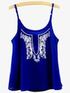 Romwe Blue Embroidered Cami Top
