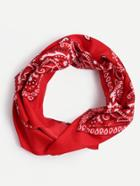 Romwe Red Paisley Print Square Scarf