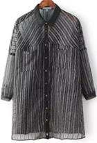Romwe Lapel With Pockets Vertical Striped Black Blouse
