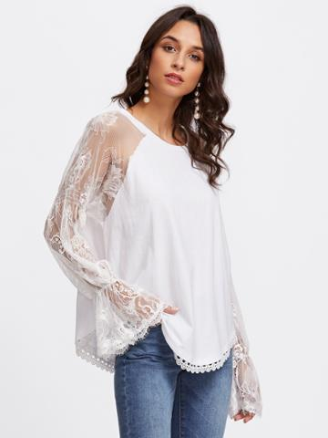 Romwe Mesh Lace Panel Fluted Sleeve Blouse