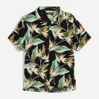 Romwe Guys Tropical Print Button Front Shirt