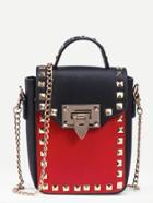 Romwe Contrast Studded Box Handbag With Chain