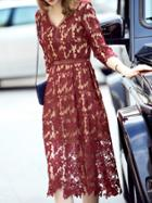 Romwe Burgundy V Neck Leaf Crochet Hollow Out Dress