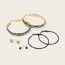 Romwe Rhinestone Engraved Stud & Hoop Earrings 4pairs