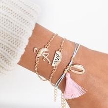 Romwe Flamingo & Seashell Bracelet 3pcs