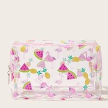 Romwe Flamingo & Watermelon Print Transparent Makeup Bag
