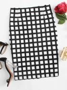 Romwe Split Back Plaid Skirt