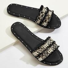 Romwe Faux Pearl Decor Open Toe Flat Sliders