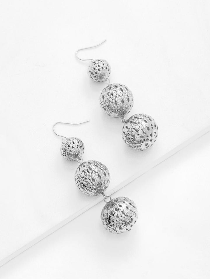 Romwe Hollow Ball Design Drop Earrings