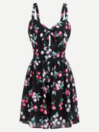 Romwe Allover Cherry Print Keyhole Front Swing Dress