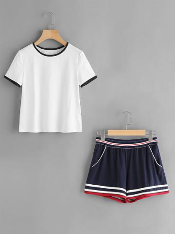 Romwe Ringer Tee And Striped Waist Binding Shorts Set