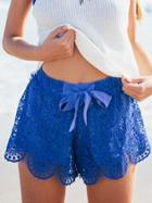 Romwe Bow-tie Waist Lace Shorts