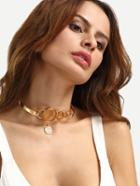 Romwe Golden Hollow Pendant Necklace