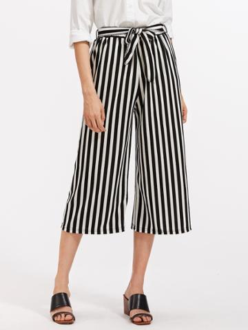 Romwe Contrast Striped Self Tie Wide Leg Pants