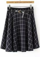 Romwe Navy Elastic Waist Plaid Pleated Skirt