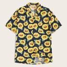 Romwe Guys Sunflower Print Notch Collar Shirt