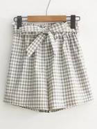 Romwe Bow Tie Waist Gingham Shorts