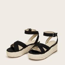 Romwe Cross Strap Ankle Strap Espadrille Wedges