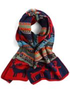 Romwe Deer Patterned Red Scarf