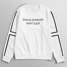 Romwe Men Letter Print Striped Sleeve Sweatshirt