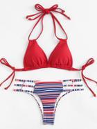 Romwe Ladder Cut Out Striped Bikini Set