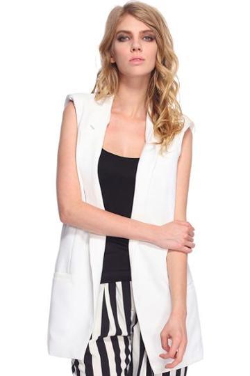 Romwe Dual-tone White Vest