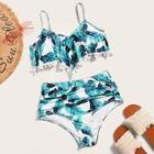 Romwe Pom-pom Trim Top With Ruched High Waist Bikini