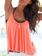 Romwe Pink Drape Front Cami Top