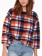 Romwe Round Neck Long Sleeve Plaid Blouse