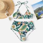 Romwe Random Floral High Waist Bikini Set