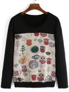 Romwe Contrast Owl Print Sweatshirt