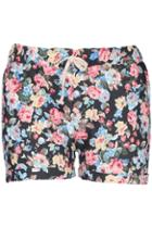 Romwe Floral Print Rolled-up Shorts