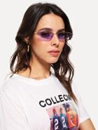 Romwe Tinted Lens Metal Frame Sunglasses