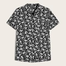 Romwe Guys Button Front Paisley Print Shirt