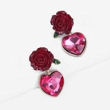 Romwe Rose & Heart Gemstone Drop Earrings
