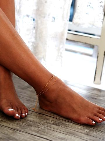 Romwe Sequin Detail Double Layer Chain Ankle Bracelet