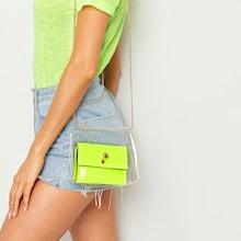 Romwe Chain Strap Clear Crossbody Bag With Inner Bag