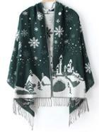 Romwe Christmas Snowflake Print Fringe Green Scarf