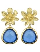 Romwe Blue Flower Shape Drop Earrings