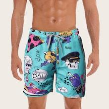 Romwe Guys Cartoon Print Drawstring Waist Shorts